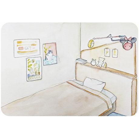 custom illustrated bedroom portrait